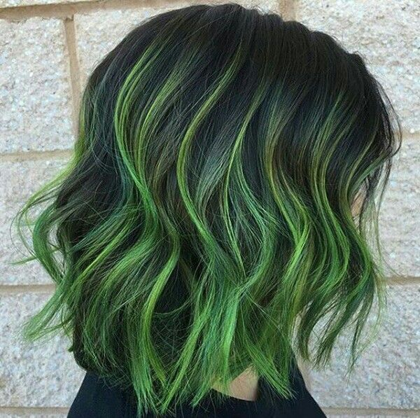 Dark green hair color streaks #colored highlights                                                                                                                                                                                 More