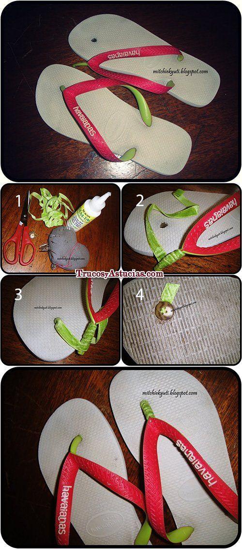 arreglar chanclas havaianas con un botón