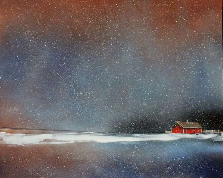 Toni Grote Spiritual Art From My Heart to Yours : July 31 Winter Landscape with Soft Snow and Red Barn Landscape 16x20