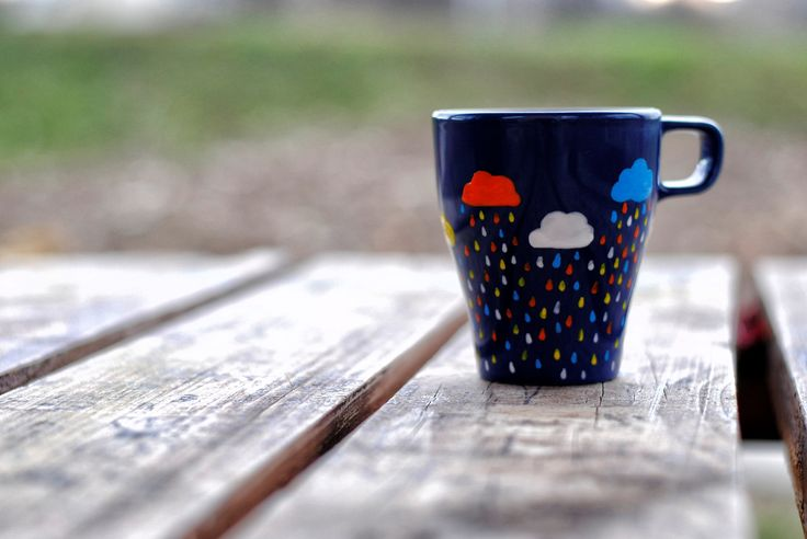 Ceasca #pictata manual - Clouds #handmade #painted #mug