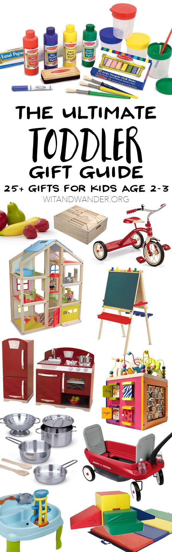 The ULTIMATE Gift Guide for Toddlers! 25+ gifts for kids ages 2-3 that will encourage imagination and creative play. No batteries are required for most of these fabulous gifts that will help your toddler develop important skills.