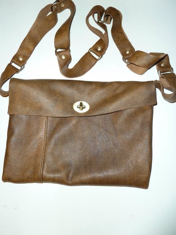 Steampunk bag( front look) - very soft leather