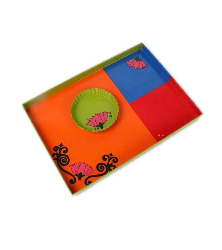 Multicoloured Hand Painted Aluminum Tray With Snacks Plate : Lotus Lady #indianroots #homedecor #tray #snackplate #handpainted