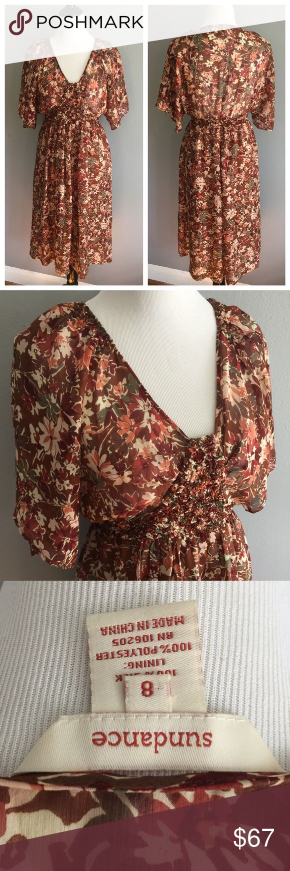Sundance Catalog Silk Midi Dress Excellent condition, like new Silk Floral print is so on trend with browns and neutrals Skirt is fully lined, top is not but the pattern makes it not see through Bust and waist are Smocked with lots of elastic to stretch for the perfect fit Sundance Dresses Midi