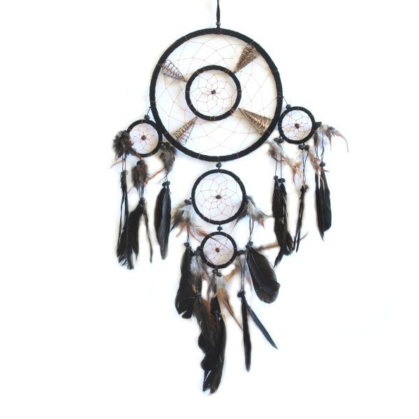 """22cm Dream catcher with split shell and big feathers. NEW colours Black and White 22cm x 60cm (8.5"""" x 24"""") total of 5 circles. Striking effect, great home or cottage accent.each Dream catcher has a card enclosed with the 'legend' of the dream catcher."""