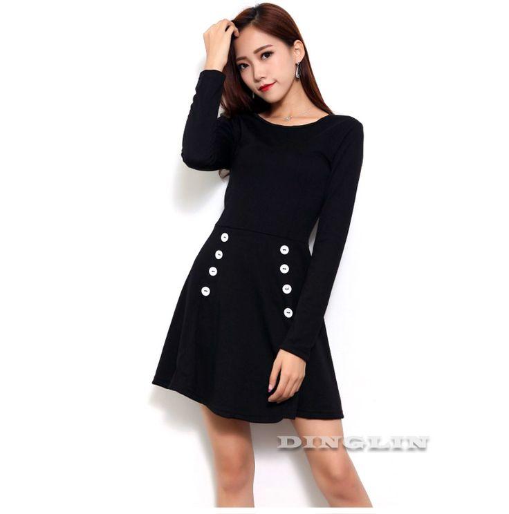Casual 2017 Stylish Warm Dress Black Long Sleeve Button Round Neck Fashion Party Mini //Price: $22.62 & FREE Shipping //     #hashtag4