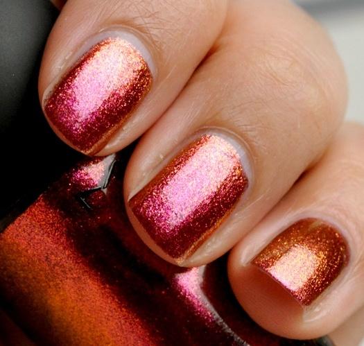 Pink & Orange Ombre Glitter Nails