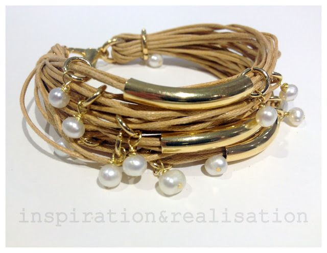 DIY cord, tubes and pearls bracelet