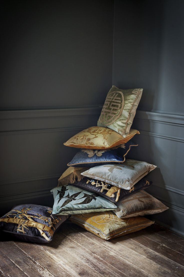 Our couture cushions are beautifully hand embroidered to order, created in fine gold or silver silk thread and embellished with freshwater pearls and semi-precious stones.