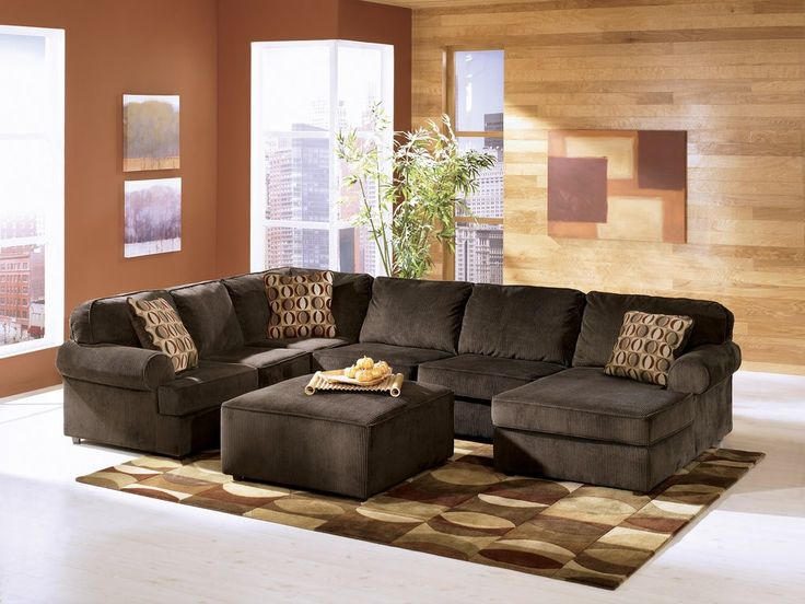 vista chocolate right arm facing sectional sofa