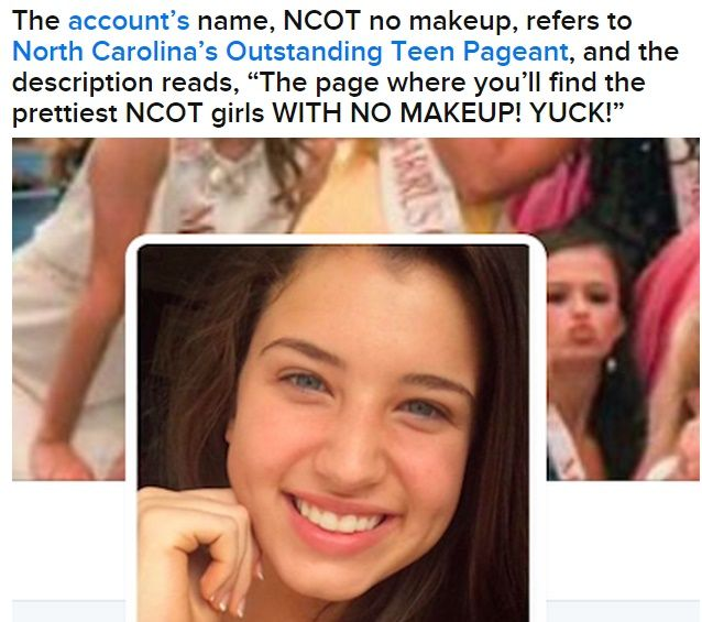"""What's your view on this story? Isabella Gaines is a teenage pageant queen from Wilmington, North Carolina, and the reigning Miss Greater Port City's Outstanding Teen. She has been cyberbullied from a Twitter user posting two photos of her with a caption """"This is the same person in both pics, amazing what makeup can do."""" Now, Pageant Contestants Started A #NoMakeupSelfie Trend To Support Her and Combat Cyberbullying. #NoMakeupSelfie   Credits to Buzzfeed (Click image to see more)"""