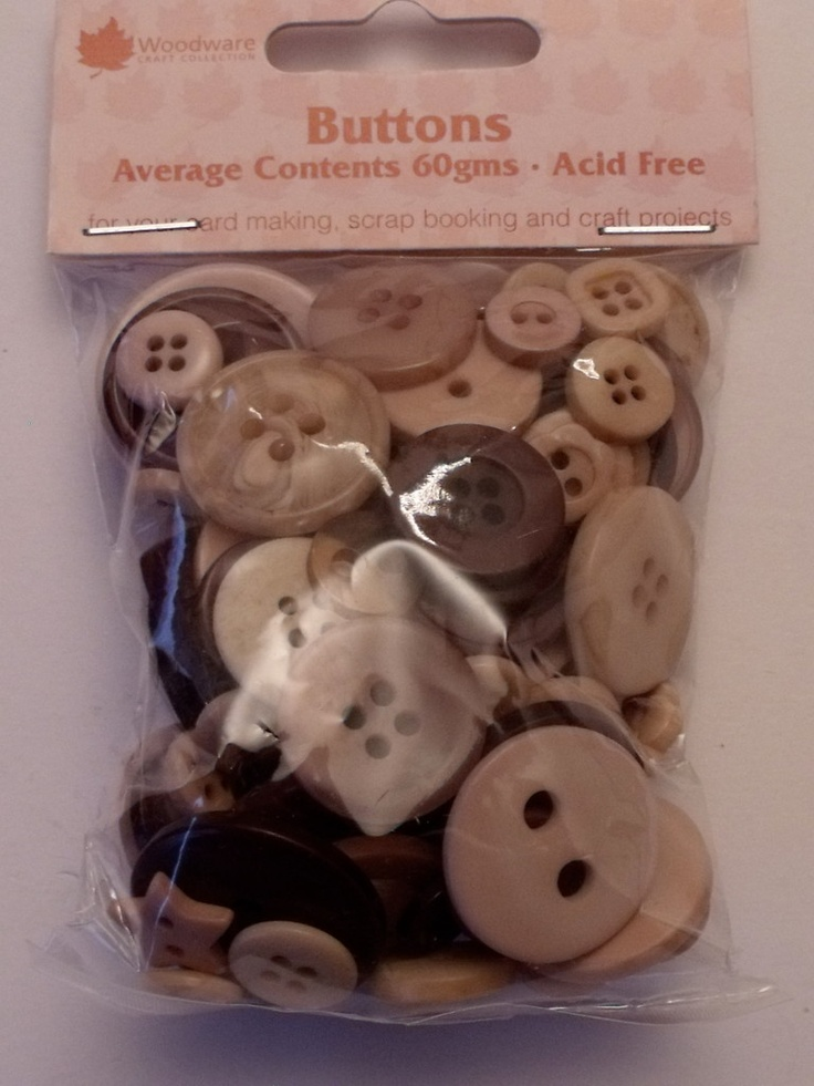 WOODWARE - ASSORTED BUTTONS COFFEE AND CREAM (BT038)      Assorted sizes, shades and shapes of buttons for your card making, scrap booking and all craft projects. Approx 60gms.