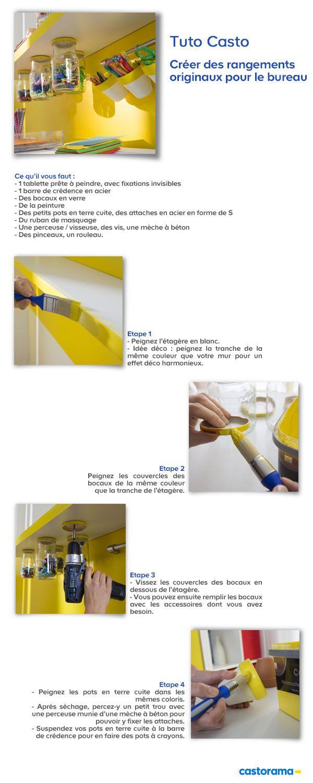 Créer des rangements originaux pour le bureau. Par Barbara Pagnier - www.mabulledeco.com -pour Castorama.
