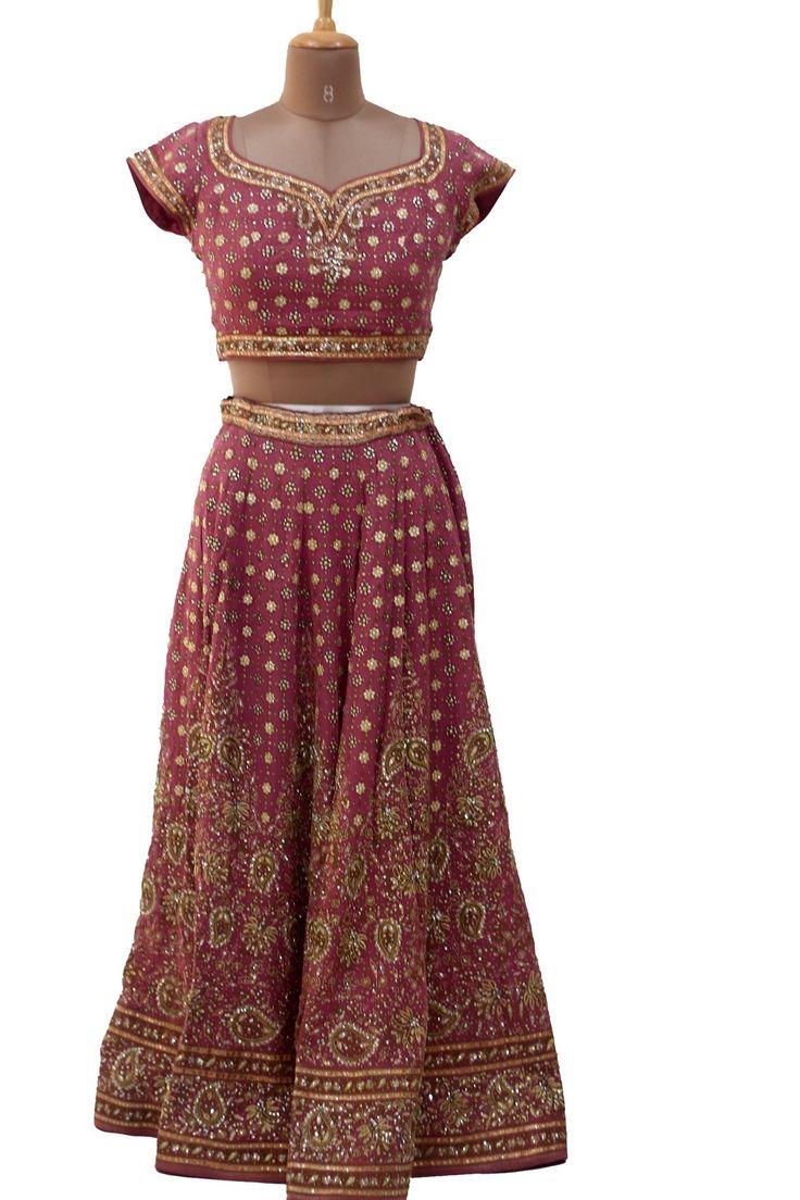 Ritu Kumar Pink and Gold Lehenga with threadwork and gota