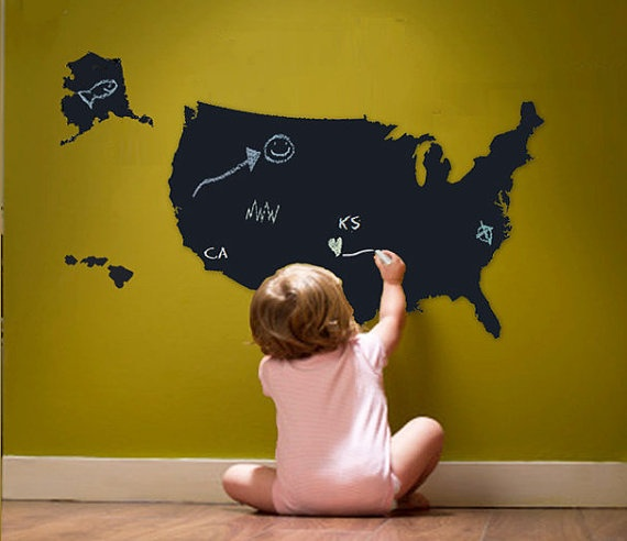 Chalkboard MapAttic Loft, Great Gift, Maps Education, Gift Ideas, Playrooms Art Room, Loft Ideas, Chalkboards Maps, Social Study
