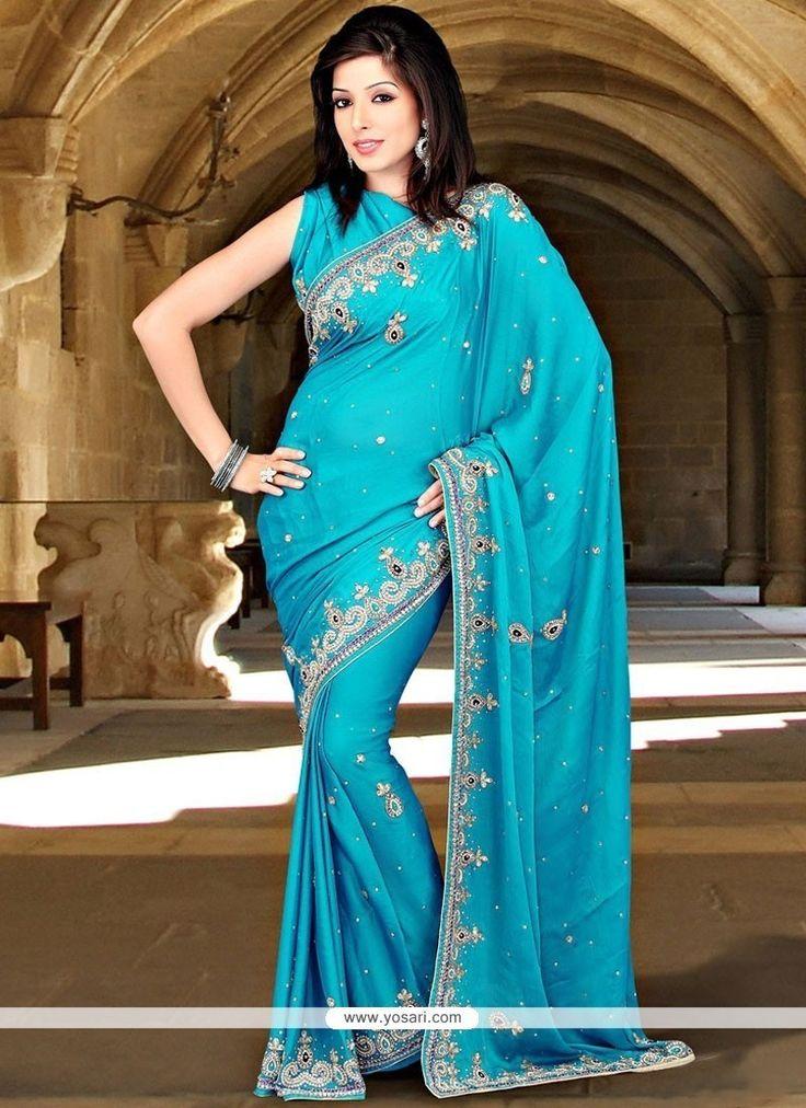 Breathtaking Chiffon Satin Blue Designer Saree Model: YOSAR11784