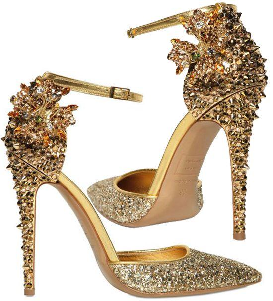 pinterest.com/fra411 #shoes - Dsquared2 Lalique Crystal and Studs Pumps...$1975