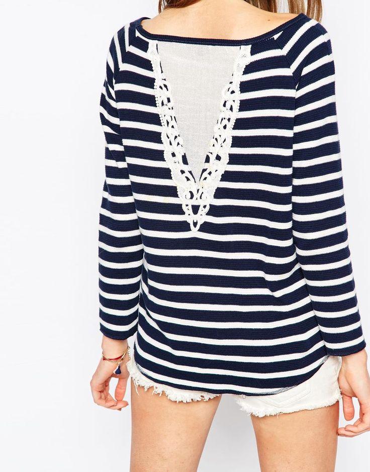 Detalhe de crochê - Hilfiger Denim Striped Jersey Top With Lace Back