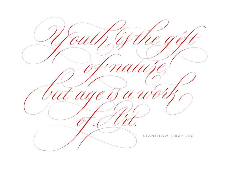 Youth Is The Gift Of Nature Rachel Yallop Calligraphy Lettering Copperplate Pinterest