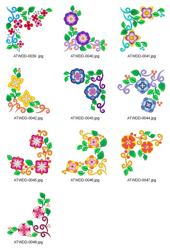 Floral-Corners-4-DD Embroidery Designs