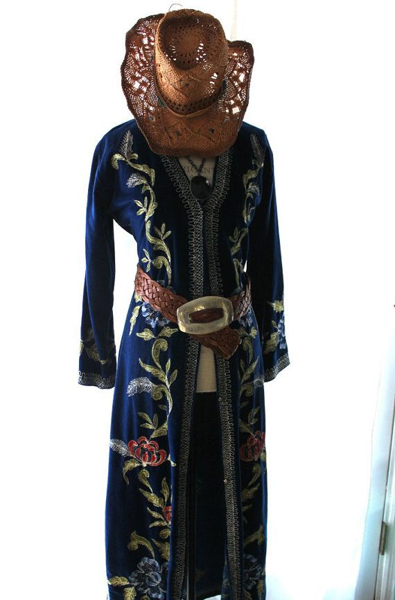 Vintage velvet duster, boho chic, stevie nicks style long rose coat, 70s bohemian clothing, blue velvet, shabby smoking jacket
