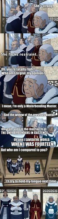 Katara's sass is gonna do me in. #Avatar