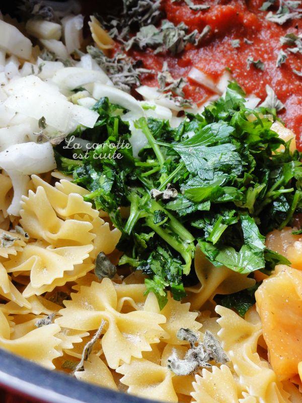 one pot pasta pate tomate poulet persil