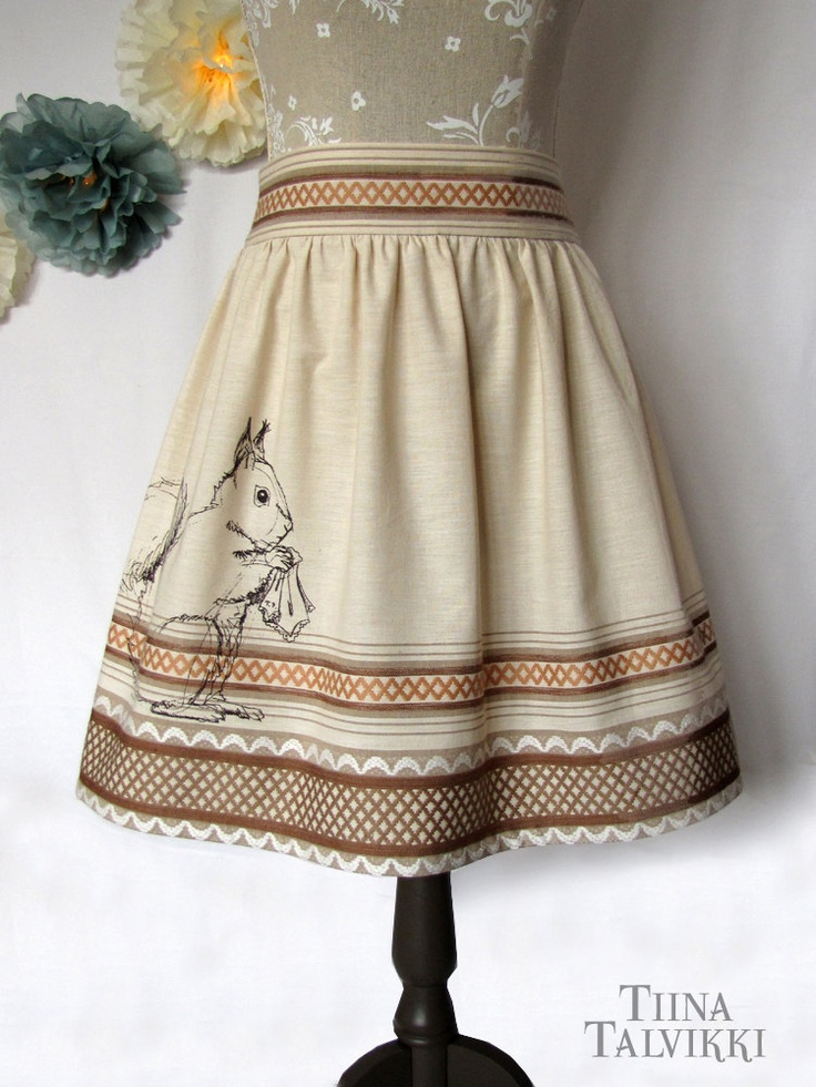 "Upcycled Skirt ""Pihkahäntä"" - Squirrel and Handkerchief - Reclaimed Table Cloth - Scandinavian Pattern - Fashion For Forest Girls. €80,00, via Etsy."