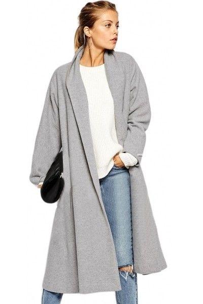 manteau femme hiver 2016 long boyfriend gris clair pas cher