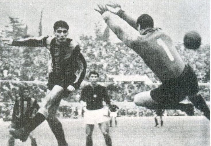 AS Roma 1 Inter Milan 1 in Feb 1965 at Stadio Olimpico. Angelo Domenghini heads a fine goal for Inter in Serie A.