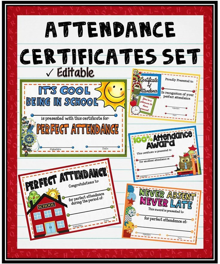"Acknowledge your students perfect attendance by presenting them with these ""Perfect Attendance"" Certificates! They can also be purchased separately. #tpt#attendance#certificate#award#teacherspayteachers"