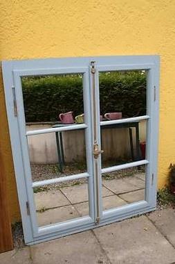 Spiegelfenster, Spiegel Landhausstil, Holz, altes Fenster mit Rahmen blau - SumoScout