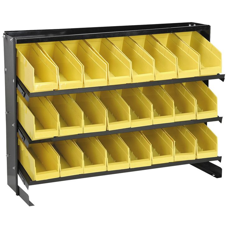 24 Bin Bench Top Parts Rack- Harbor Freight.  Spray paint sheet metal & add wood grain contact paper to give it an industrial-midcentury look.