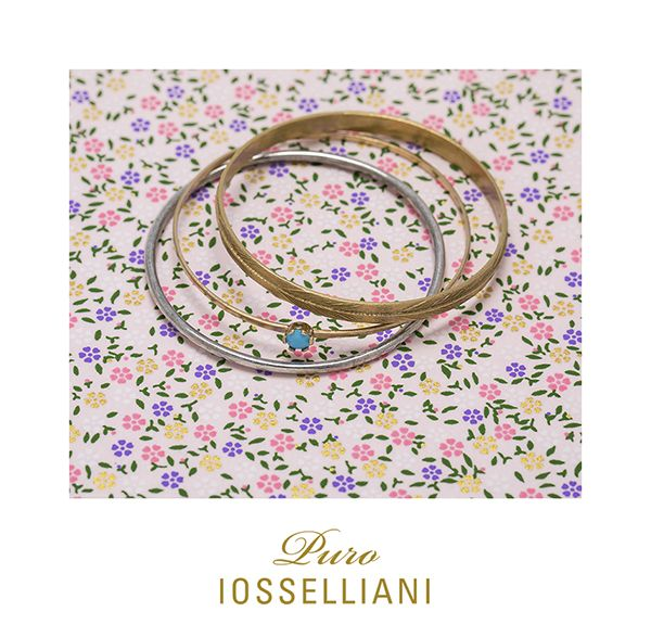 set of 3 silver + mix 18K gold plated bangles, turquoise glass stone, zircons  #iosselliani #iossellianicollections