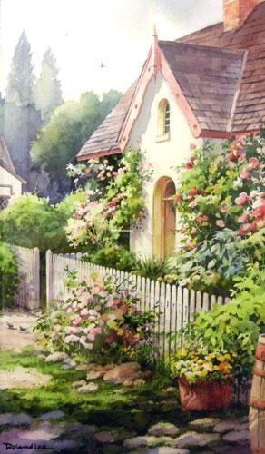 """Roland Lee, Flower Cottage - Ireland, watercolor (12"""" x 22"""")                                                                                                                                                     Mais"""