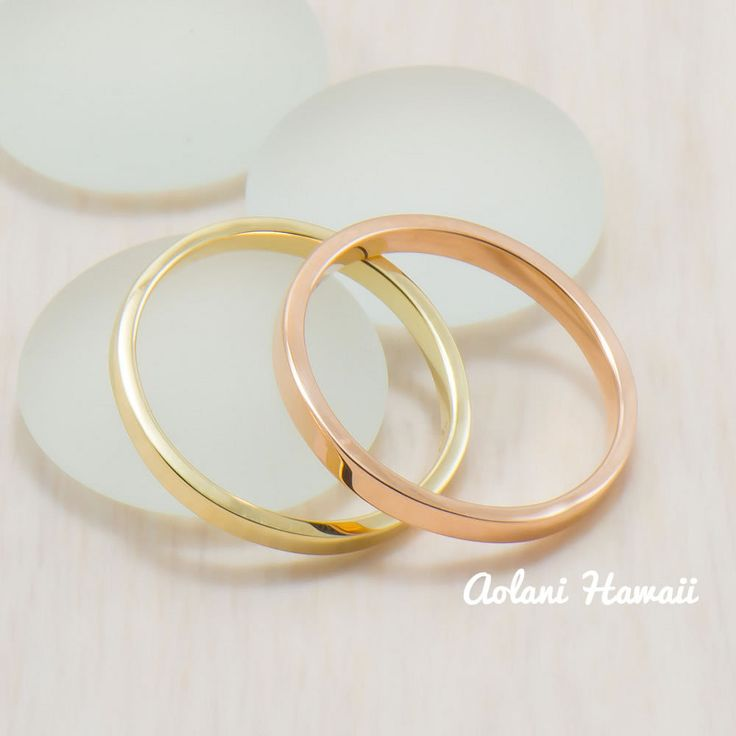 Custom order and Hand made in the Aloha State Ring is 2mm in width with select-able 14k gold: Yellow/Pink(Rose) Gold / White Great gift for anniversary, wedding or any special occasion. FREE SHIPPING