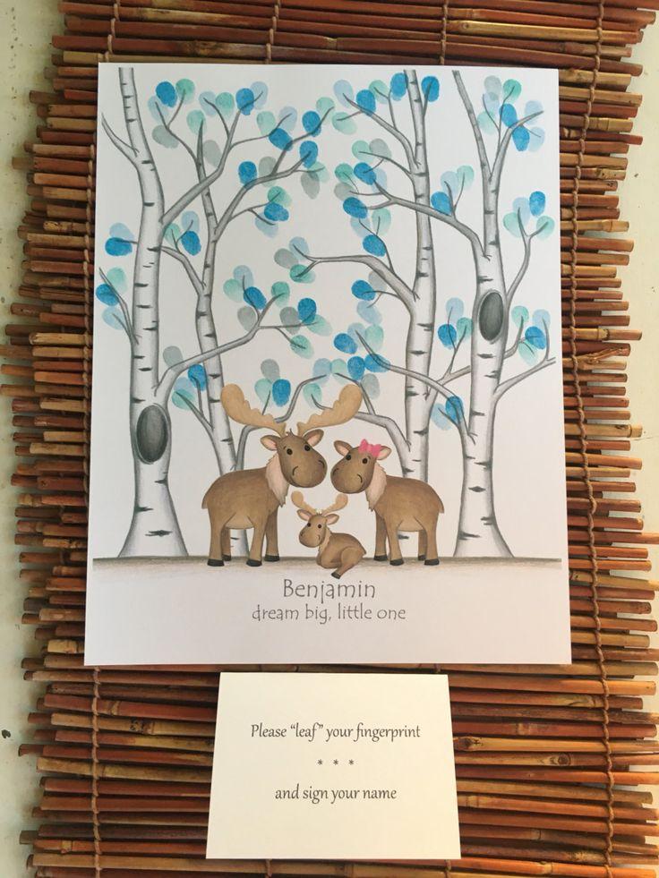 Printable Fingerprint Tree Moose Nursery Decor Diy