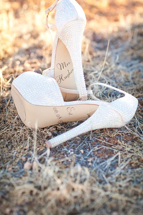 wedding shoes with married name + wedding date // photo by AK Studio Design