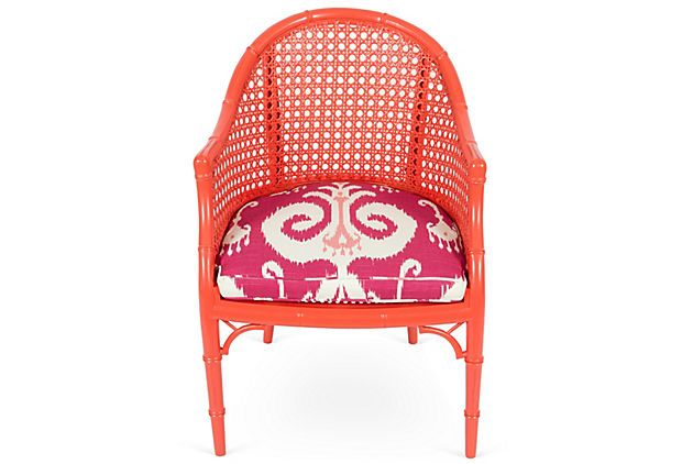 Orange Lacquered Bucket Ikat Chair on OneKingsLane.com