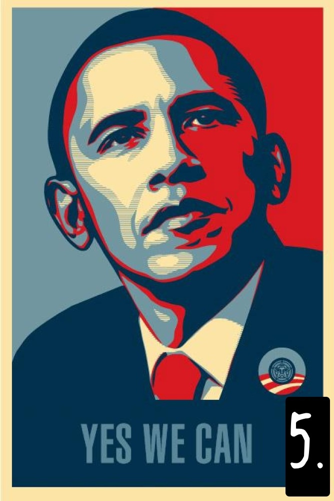 E questo è l'originale, il poster della campagna elettorale del 2008 di Barack Obama, riprodotto in tutti i media in migliaia di copie. I colori sono quelli della bandiera americana. Lo stile stencil, invece, rimanda all'arte di strada: un contrasto netto. Lo slogan, infine, è quello del sindacato degli agricoltori, e suona familiare soprattutto agli ispanici. Valori tradizionali e non, appello alle minoranze, il ritratto di un leader afro-americano: un capolavoro di comunicazione politica.