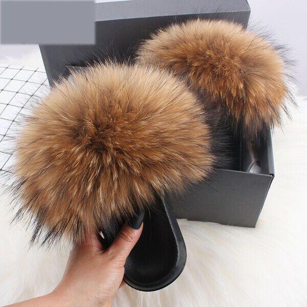 Customizable Color Real Fox Fur Slippers Flip Flops Slip On Slides Shoes Non-Slip Fluffy Slippers Shoes Women