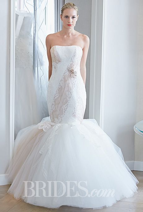 "Brides.com: Edgardo Bonilla - Fall 2014. Style 322, ""Gold Rose"" ivory and nude tulle and lace strapless trumpet wedding dress, Edgardo Bonilla"