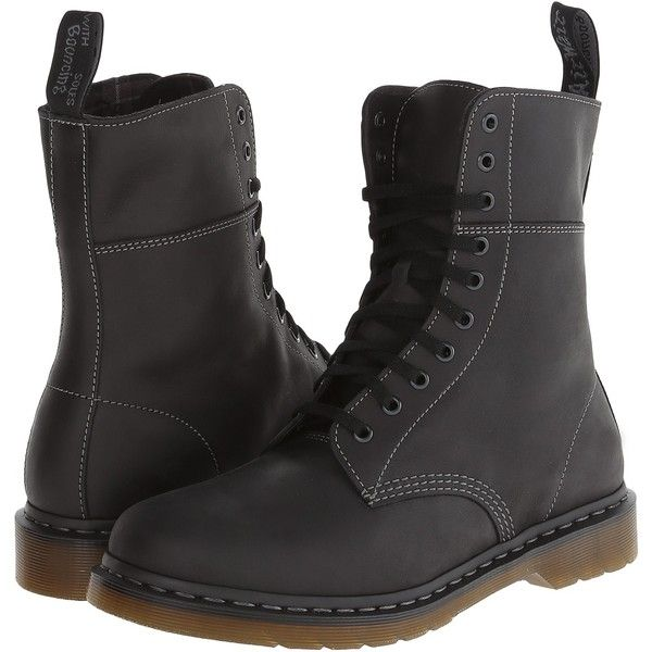 Dr. Martens Bart 10-Eye Boot (Black Polished Wyoming) Men's Lace-up... (180 BRL) ❤ liked on Polyvore featuring men's fashion, men's shoes, men's boots, black, mens boots, dr martens mens boots, mens black boots, mens black lace up boots and dr martens mens shoes