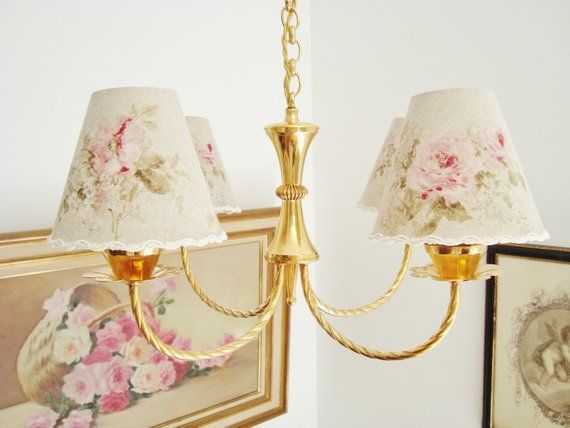 Vintage French Country Chandelier With A Choice Of Handmade Lampshades Shabby Style Light Wit Country Chandelier French Country Chandelier Handmade Lampshades