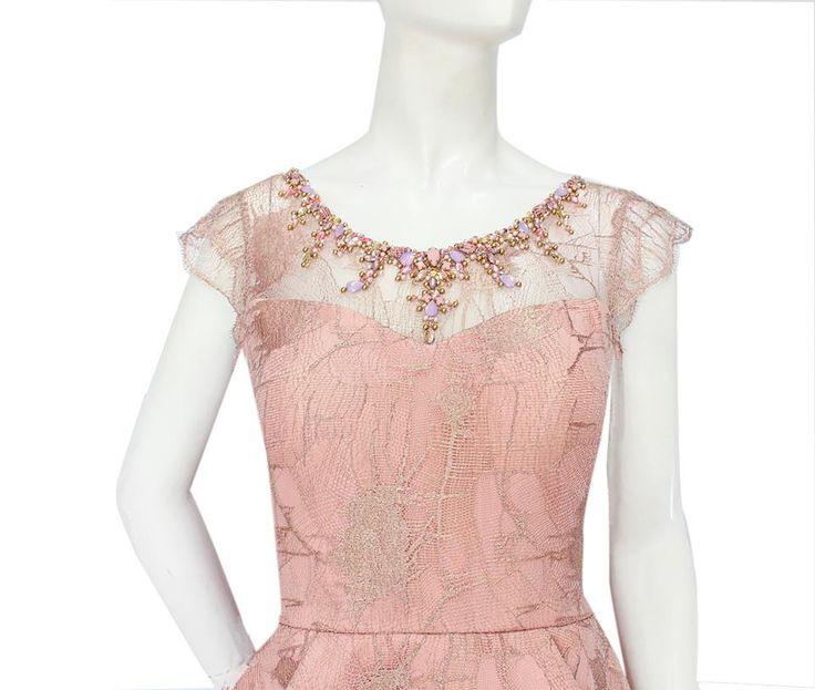 Rose Gold || The abstract French lace with pastel colored crystals embellishment are feminine and softly beautiful.