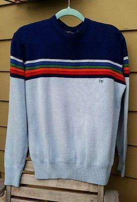 Vtg Rainbow Striped OP Sweater Ocean Pacific 80's Mens L British Hong Kong Multi