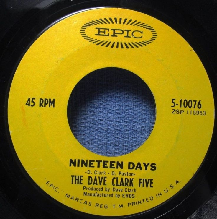 THE DAVE CLARK FIVE: Nineteen Days/ Sitting Here Baby (45) - Ships WORLDWIDE!