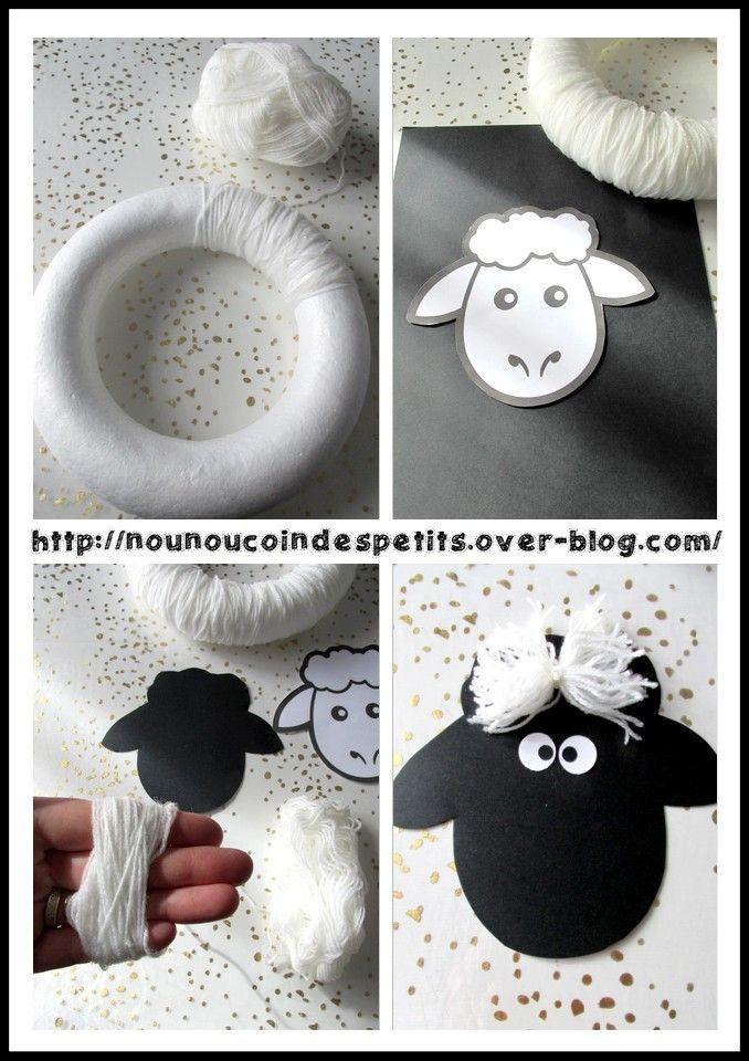 - Une couronne mouton pour pâques , réalisé a partir d'une couronne en polystyrène de 22 cm, comme pour un pompon avec de la laine blanche on rempli tout le contour de la couronne , la tête est en papier noir découpé a partir du gabarit grand modèle tête...