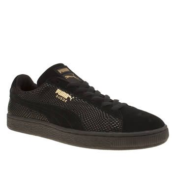 Puma Black Suede Gold Womens Trainers