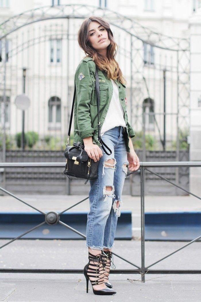 40 Amazing Baggy Jeans Outfit Ideas - military green utility jacket worn with ripped baggy jeans + black lace-up heels